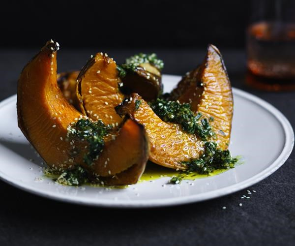 """[Roasted pumpkin with zhoug](https://www.gourmettraveller.com.au/recipes/fast-recipes/roasted-pumpkin-with-zhoug-16214