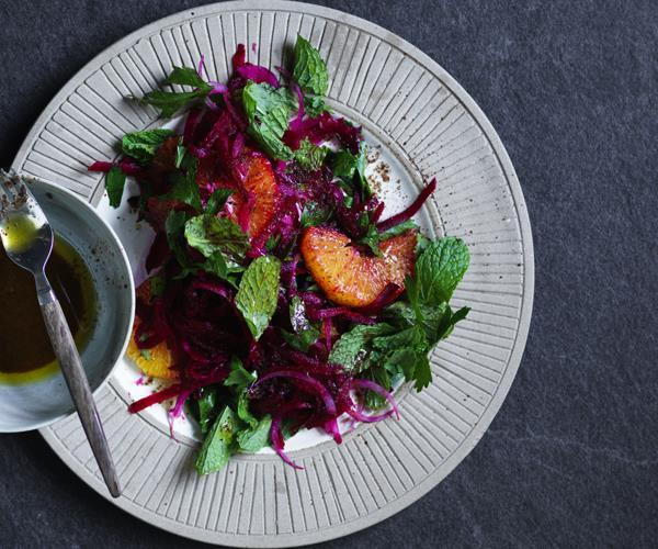 """[Beetroot and orange salad with sumac dressing](https://www.gourmettraveller.com.au/recipes/fast-recipes/beetroot-and-orange-salad-with-sumac-dressing-16213 target=""""_blank"""")"""