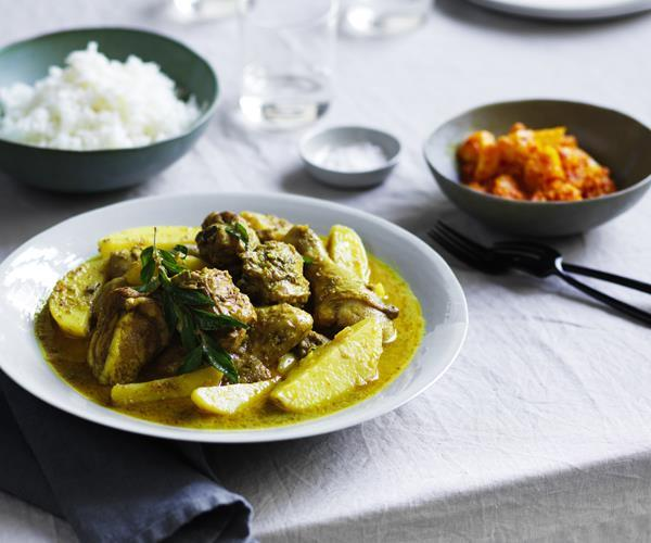 """[Chicken curry with pickled pineapple](https://www.gourmettraveller.com.au/recipes/chefs-recipes/chicken-curry-with-pickled-pineapple-16076 target=""""_blank"""")"""