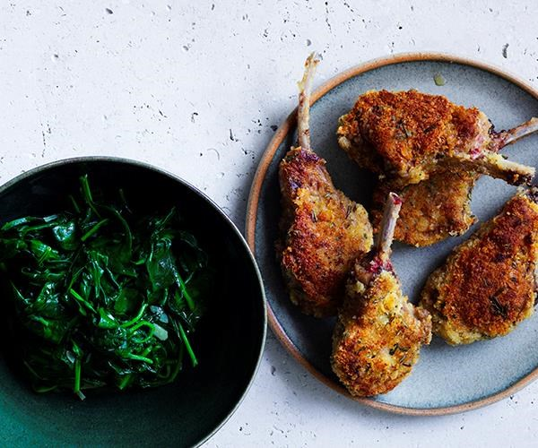 """[Crumbed lamb cutlets with wilted spinach](https://www.gourmettraveller.com.au/recipes/fast-recipes/crumbed-lamb-cutlets-with-wilted-spinach-16483