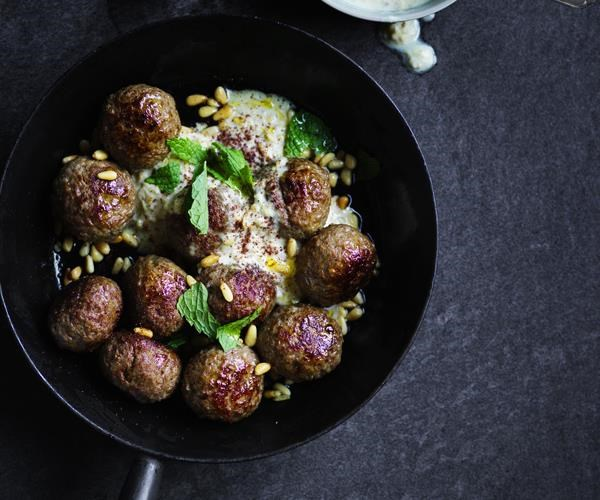 """[Lamb meatballs with tahini and pine nut sauce](https://www.gourmettraveller.com.au/recipes/fast-recipes/lamb-meatballs-with-tahini-and-pine-nut-sauce-16221