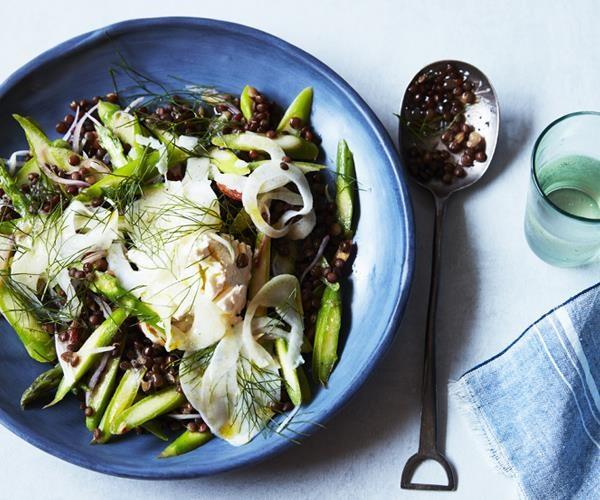 "[Green asparagus, lentil and labne salad](https://www.gourmettraveller.com.au/recipes/fast-recipes/green-asparagus-lentil-and-labne-salad-16563|target=""_blank"")"