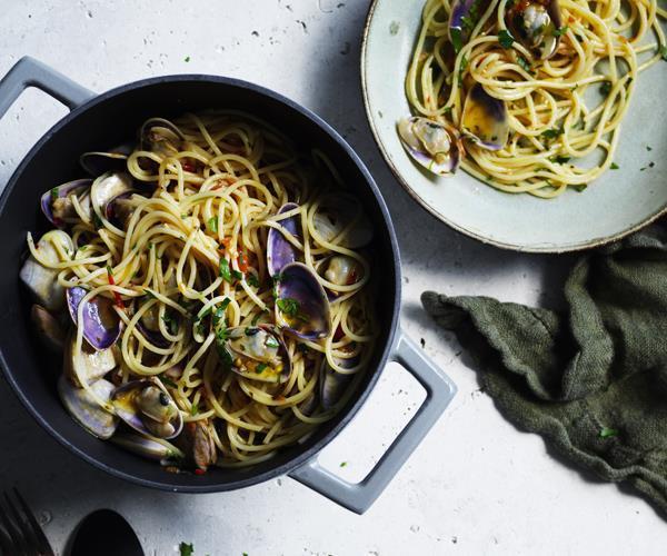 "[Spaghettini with pipis](https://www.gourmettraveller.com.au/recipes/fast-recipes/spaghettini-with-pipis-16481 target=""_blank"")"