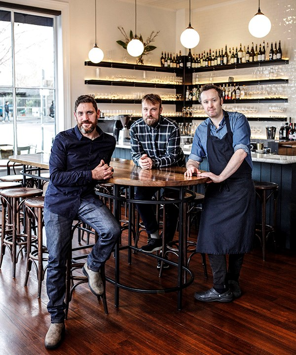 From left: manager Andrew Joy, sommelier Travis Howe and chef John Paul Twomey