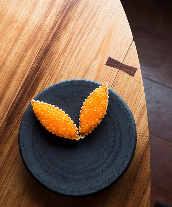 Tartlet of salmon roe and bonito cream.