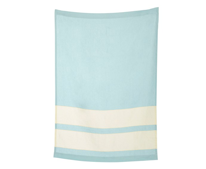 """Made with Irish linen, this Todd Hiem towel is a summer essential for long days next to the pool, not to mention Christmas morning at the beach.  <br><br> Todd Heim linen beach towel, $450, [Sorry Thanks I Love You](http://sorrythanksiloveyou.com/home-and-design/outdoors/pale-blue-linen-beach-towel-todd-heim