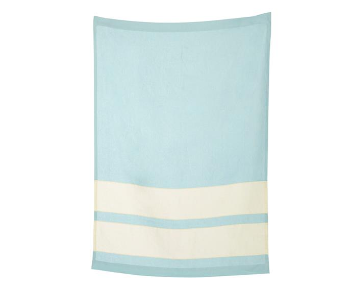 "Made with Irish linen, this Todd Hiem towel is a summer essential for long days next to the pool, not to mention Christmas morning at the beach.  <br><br> Todd Heim linen beach towel, $450, [Sorry Thanks I Love You](http://sorrythanksiloveyou.com/home-and-design/outdoors/pale-blue-linen-beach-towel-todd-heim|target=""_blank""