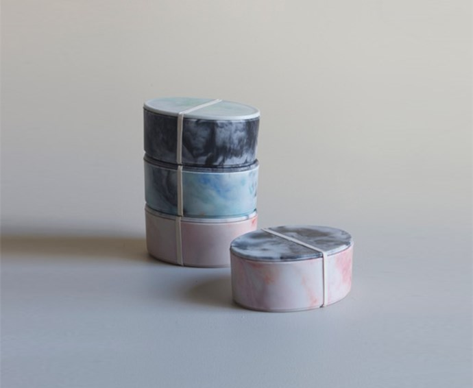 """Looking to buy for that eco-conscious friend? These Bakelite bento boxes from Mr Kitly are made of 100% plastic marine debris, collected off the coast of Australia.  <br><br> Marine Debris Bakelite bento boxes, $110, [Mr Kitly](https://mrkitly.com.au/collections/all-products/products/forschool03
