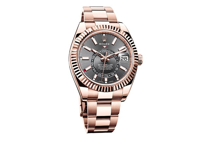 """Sophisticated and distinct, the Sky-Dweller is Rolex's tribute to the traveller. Featuring dual time zone functionality and an annual calendar, the revolutionary timepiece ensures unrivalled precision and statement style. <br><br> [Rolex Sky-Dweller watch](https://www.rolex.com/watches/sky-dweller/m326935-0007.html