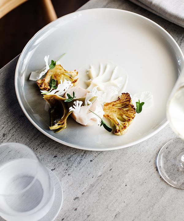 Cod with cauliflower & artichoke barigoule at Restaurant Dan Arnold.