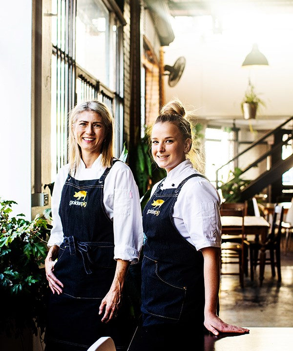 Golden Pig chef-owner Katrina Ryan (left) and head chef Sarah Hockings.