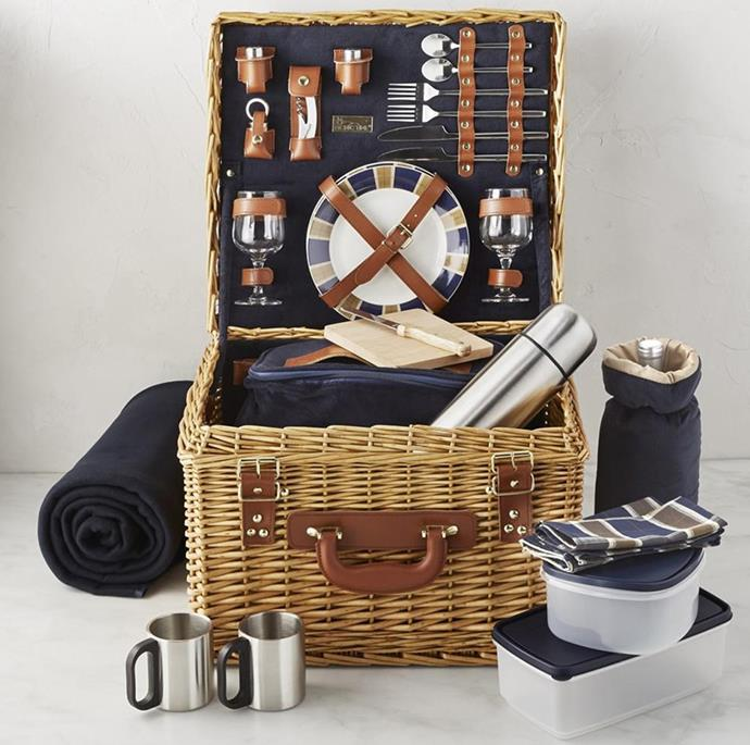 """Give the gift of quality time in the outdoors with this all-inclusive picnic set for two.  <br><br> Canterbury picnic basket, $325, [Williams Sonoma](http://www.williams-sonoma.com.au/canterbury-picnic-basket