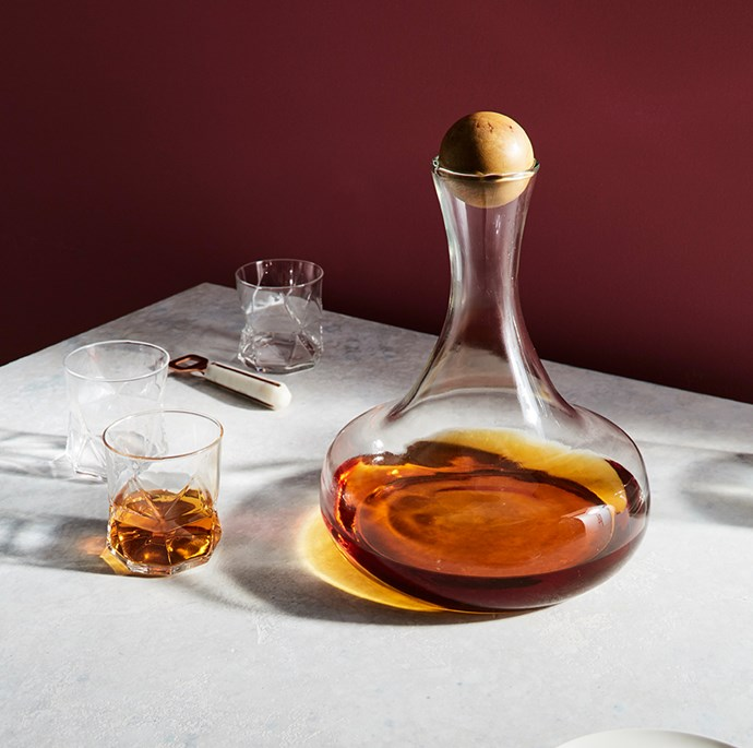 """Make a lasting impression come cocktail hour. Spheres in natural wood function as stoppers to sculptured glassware and add instant interest to bar trolleys.  <br><br> [West Elm whiskey bottle with wood stopper](http://www.westelm.com.au/glass-bottles-with-wood-stoppers-c434
