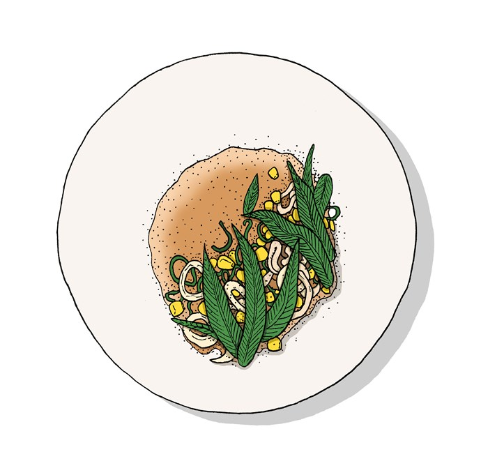 """**Squid, corn, laksa leaf and spring onion**,  **[Bread in Common, Perth, WA](https://www.gourmettraveller.com.au/dining-out/restaurant-reviews/bread-in-common-6725