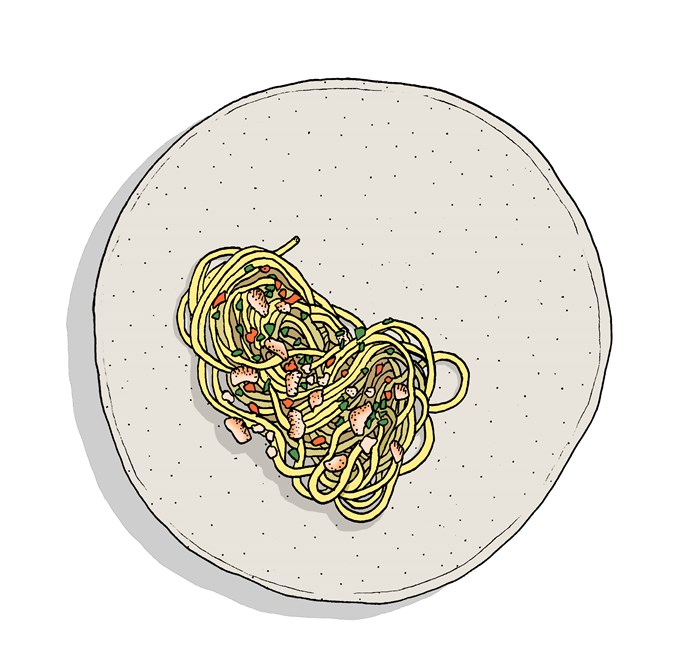 """**Smoked Eel Spaghetti**,  **[Templo, Hobart, Tas](https://www.gourmettraveller.com.au/dining-out/restaurant-reviews/templo-7024