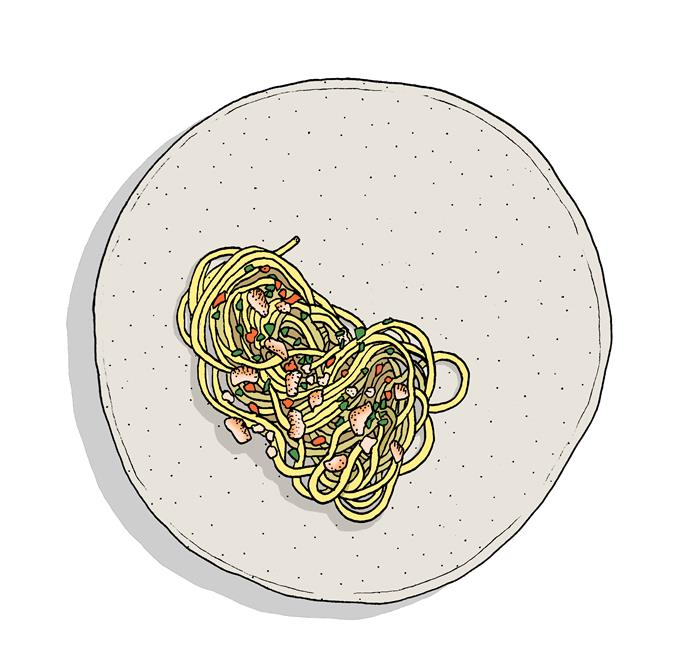 """**Smoked Eel Spaghetti**,  **[Templo, Hobart, Tas](https://www.gourmettraveller.com.au/dining-out/restaurant-reviews/templo-7024 target=""""_blank"""")**  Whether it's the size of the room (cosy) or the style of wording on the short menu (clipped to say the least), Templo is all about concision. But, as this gutsy plate of pasta demonstrates, economy of gesture doesn't have to translate to being less than generous when it comes to flavour or voluptuous texture. It packs a wallop. **Pat Nourse**"""