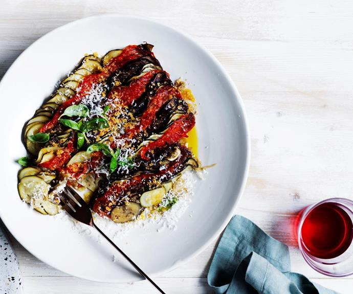 """[**Summer vegetable tian**](https://www.gourmettraveller.com.au/recipes/chefs-recipes/summer-vegetable-tian-16622