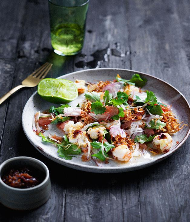 "[Prawn and pomelo salad with roasted chilli dressing](https://www.gourmettraveller.com.au/recipes/browse-all/prawn-and-pomelo-salad-with-roasted-chilli-dressing-12693|target=""_blank"")"