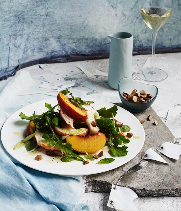 "[Lobster, peach and mint salad with smoked almond](https://www.gourmettraveller.com.au/recipes/browse-all/lobster-peach-and-mint-salad-with-smoked-almond-12408|target=""_blank"")"