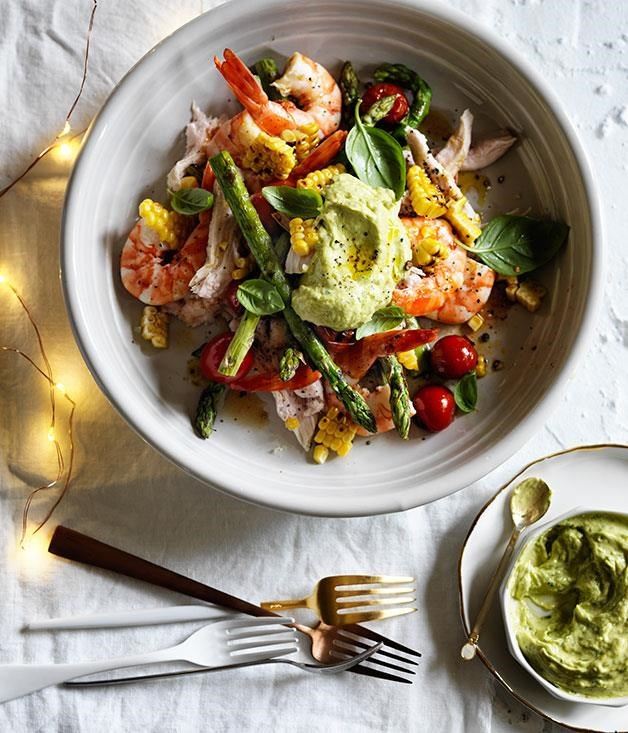 "[Poached turkey and prawn salad with avocado dressing](https://www.gourmettraveller.com.au/recipes/browse-all/poached-turkey-and-prawn-salad-with-avocado-dressing-12394|target=""_blank"")"