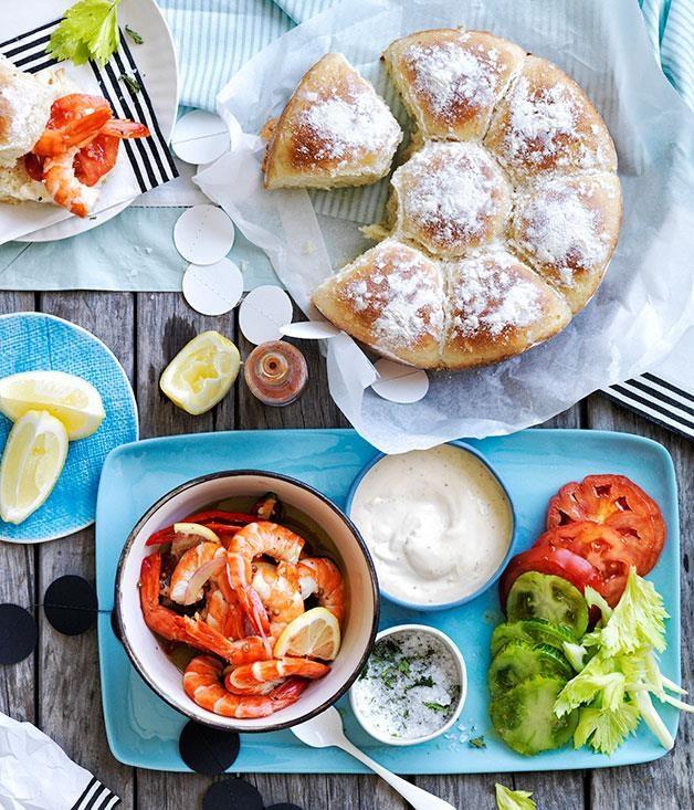 """[Bloody Mary prawn rolls](https://www.gourmettraveller.com.au/recipes/browse-all/bloody-mary-prawn-rolls-12129 target=""""_blank"""")"""