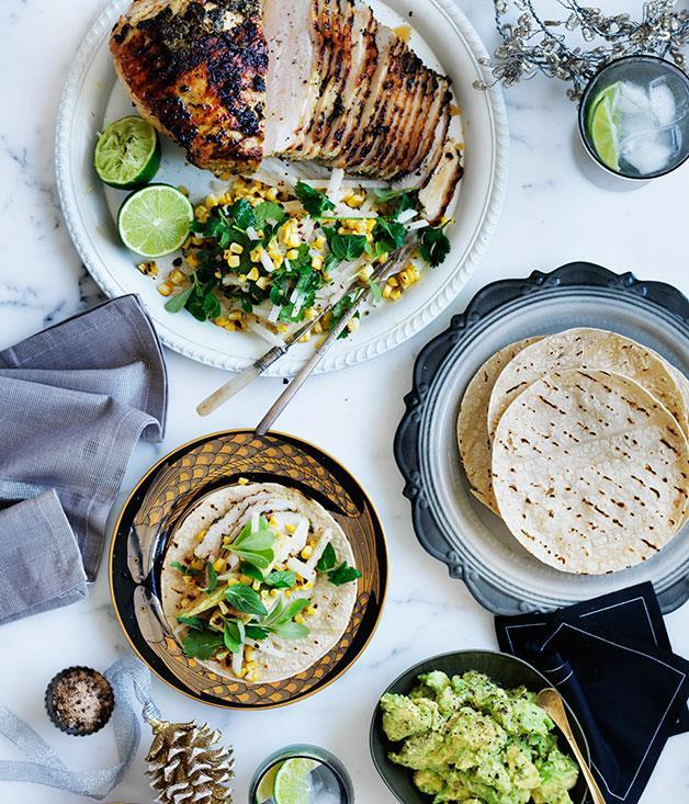 "[Barbecued turkey with corn and jicama salad](https://www.gourmettraveller.com.au/recipes/browse-all/barbecued-turkey-with-corn-and-jicama-salad-11839|target=""_blank"")"