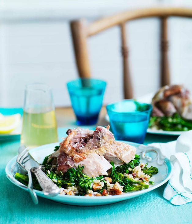 "[Braised turkey with brown rice and broccolini](https://www.gourmettraveller.com.au/recipes/chefs-recipes/braised-turkey-with-brown-rice-and-broccolini-7497|target=""_blank"")"