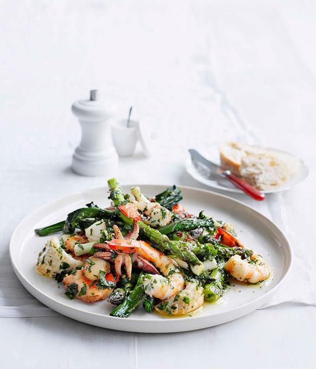 "[Seafood salad with herb dressing](https://www.gourmettraveller.com.au/recipes/fast-recipes/seafood-salad-with-herb-dressing-13070|target=""_blank"")"