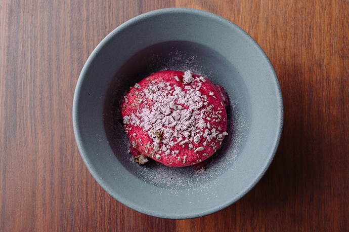 Sourdough ice-cream with beer praline and raspberry at Sid at The French Café. *Photo: Josh Griggs*