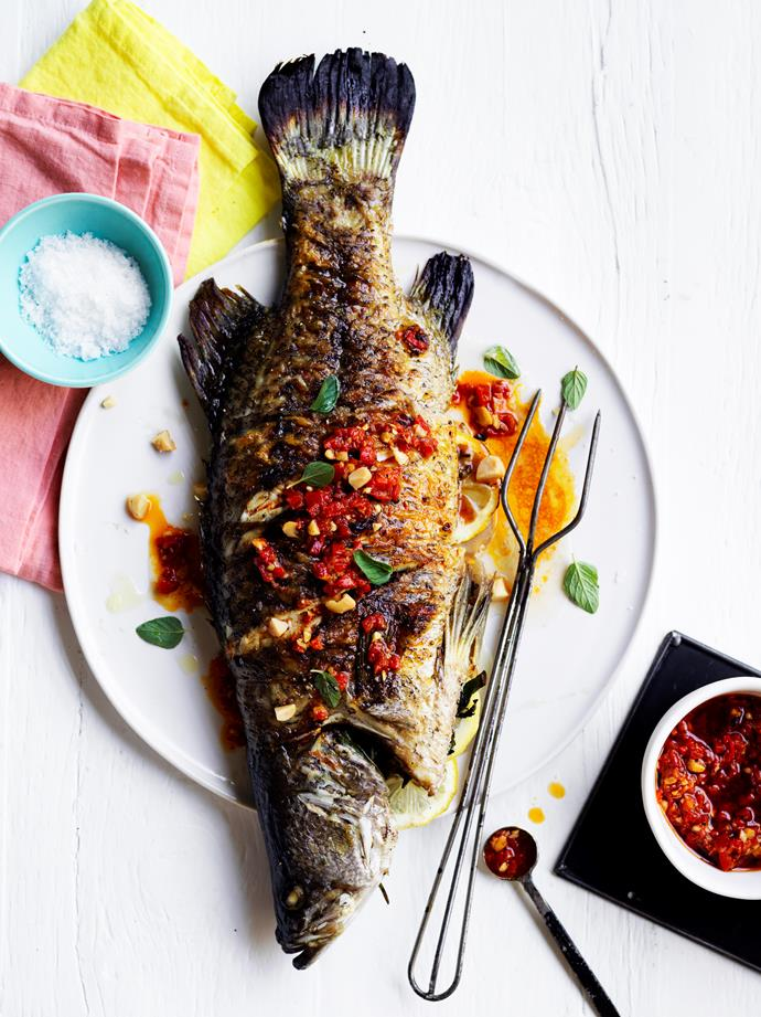 """[Barbecued barramundi with macadamia romesco](https://www.gourmettraveller.com.au/recipes/healthy-recipes/barbecued-barramundi-with-macadamia-romesco-15827 target=""""_blank"""")   **Recipe and styling:** Emma Knowles **Photography:** Ben Dearnley"""