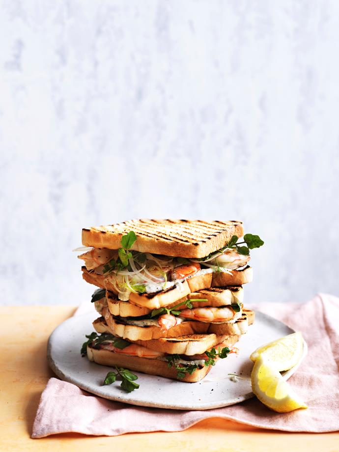 """[Charred prawn sandwich with fennel, lemon myrtle and lime](http://www.gourmettraveller.com.au/recipes/fast-recipes/charred-prawn-sandwich-with-fennel-lemon-myrtle-and-lime-15556 target=""""_blank"""")  **Recipe:** Max Adey **Photography:** William Meppem **Styling:** Emma Knowles"""