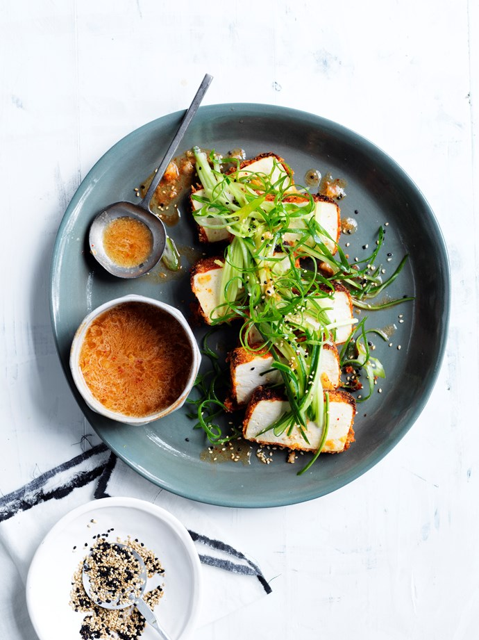 "[Crumbed tofu with kimchi dressing](http://www.gourmettraveller.com.au/recipes/browse-all/crumbed-tofu-with-kimchi-dressing-15679|target=""_blank"")   **Recipe and Styling:** Emma Knowles **Photography:** Ben Dearnley"