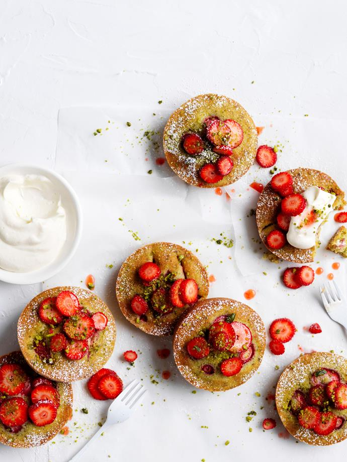 """[Strawberry pistachio cakes](http://www.gourmettraveller.com.au/recipes/fast-recipes/strawberry-pistachio-cakes-15808 target=""""_blank"""")  **Recipe and styling:** Emma Knowles **Photography:** Ben Dearnley"""
