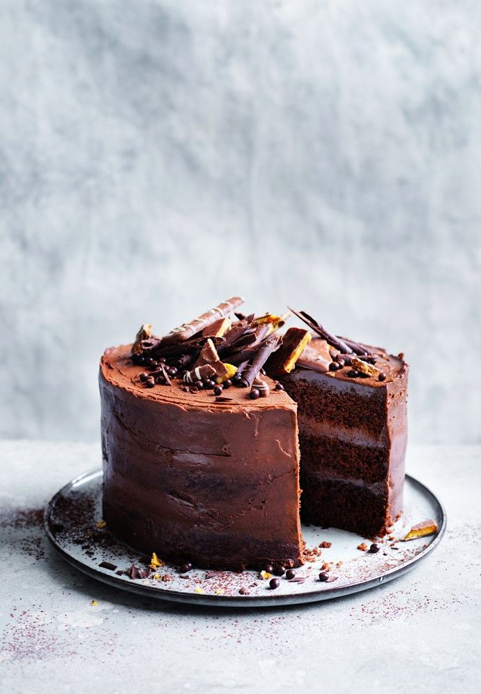 "[Salted chocolate layer cake with whipped ganache](http://www.gourmettraveller.com.au/recipes/browse-all/salted-chocolate-layer-cake-with-whipped-ganache-15940|target=""_blank"")   **Recipe and styling:** Emma Knowles **Photography:** William Meppem"