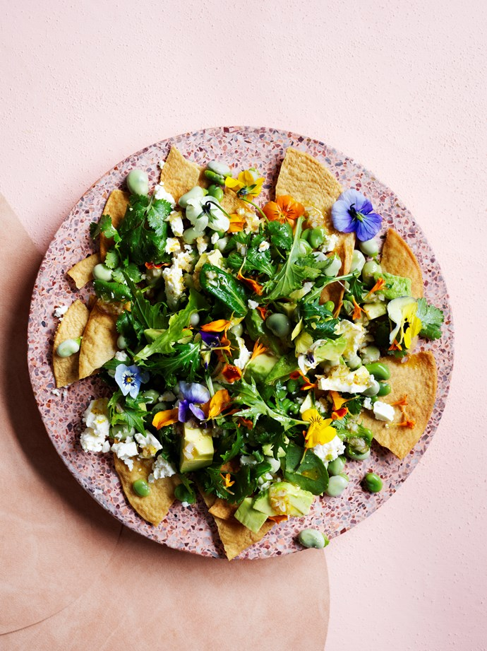 "[Fried tortillas with broad beans, feta and lime](https://www.gourmettraveller.com.au/recipes/browse-all/fried-tortillas-with-broad-beans-feta-and-lime-16617|target=""_blank"")   **Recipe:** Lisa Featherby **Photography:** Ben Dearnley **Styling:** Claire Delmar"