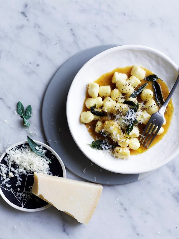 "[Gnocchi with demi-glace and sage](https://www.gourmettraveller.com.au/recipes/fast-recipes/gnocchi-with-demi-glace-and-sage-16686 -|target=""_blank"")  **Recipe:** Hugh Wennerbom **Photography:** Ben Dearnley **Styling:** Lucy Tweed"