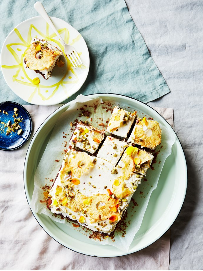 "[Pineapple and coconut cake](https://www.gourmettraveller.com.au/recipes/browse-all/pineapple-and-coconut-cake-16729|target=""_blank"")   **Recipe:** Lisa Featherby **Photography:** Chris Chen **Styling:** Kirsten Bookallil"