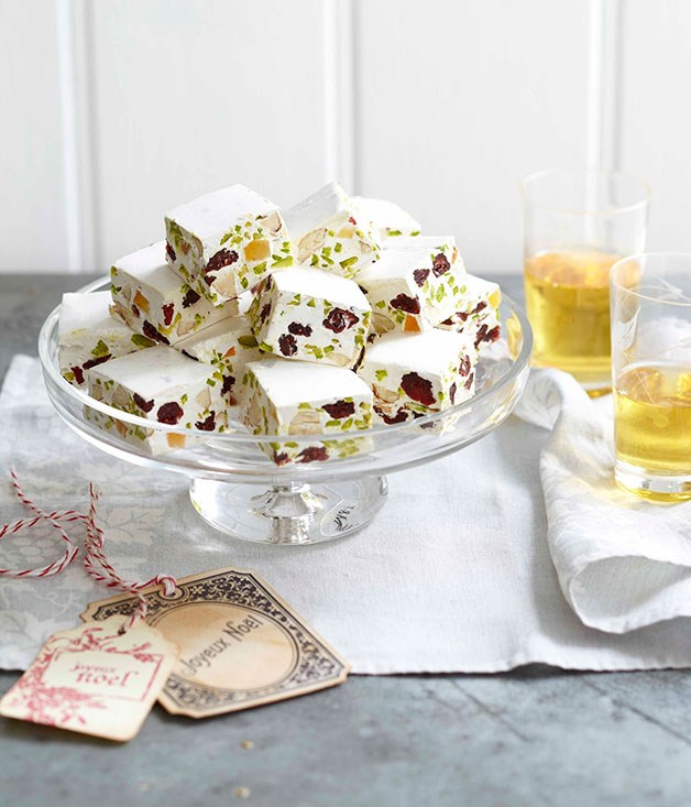 "[Cranberry, pistachio and almond nougat)[http://www.gourmettraveller.com.au/recipes/browse-all/cranberry-pistachio-and-almond-nougat-14174|target=""_blank""]"