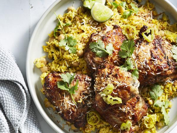 """**[Indian spiced yoghurt chicken with cardamom-coconut pilaf](http://www.gourmettraveller.com.au/recipes/fast-recipes/indian-spiced-yoghurt-chicken-with-cardamom-coconut-pilaf-15928
