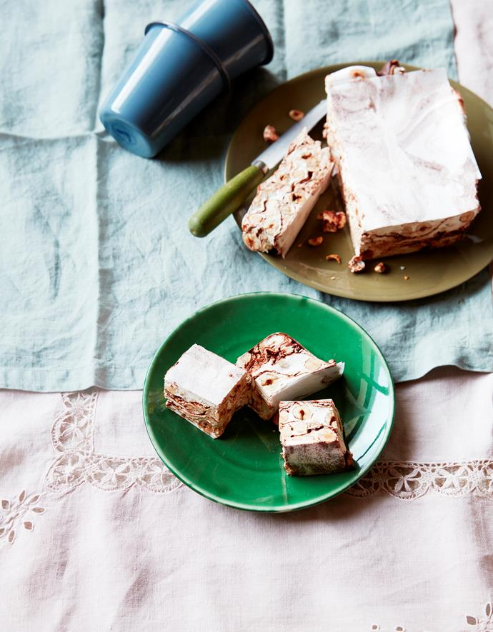 """[Hazelnut and chocolate swirl nougat](https://www.gourmettraveller.com.au/recipes/browse-all/hazelnut-and-chocolate-swirl-nougat-16728