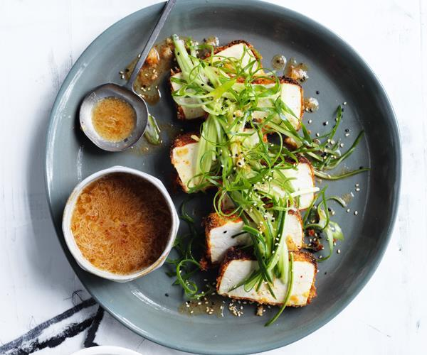 """[Crumbed tofu with kimchi dressing](https://www.gourmettraveller.com.au/recipes/browse-all/crumbed-tofu-with-kimchi-dressing-15679