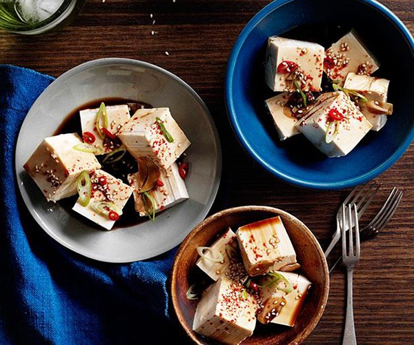 "[Cold tofu with vinegar, garlic and soy](https://www.gourmettraveller.com.au/recipes/chefs-recipes/cold-tofu-with-vinegar-garlic-and-soy-7767|target=""_blank"")"