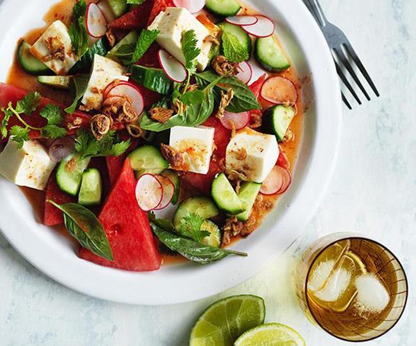 "[Tofu, watermelon and radish salad with nahm jim](https://www.gourmettraveller.com.au/recipes/fast-recipes/tofu-watermelon-and-radish-salad-with-nahm-jim-13880|target=""_blank"")"
