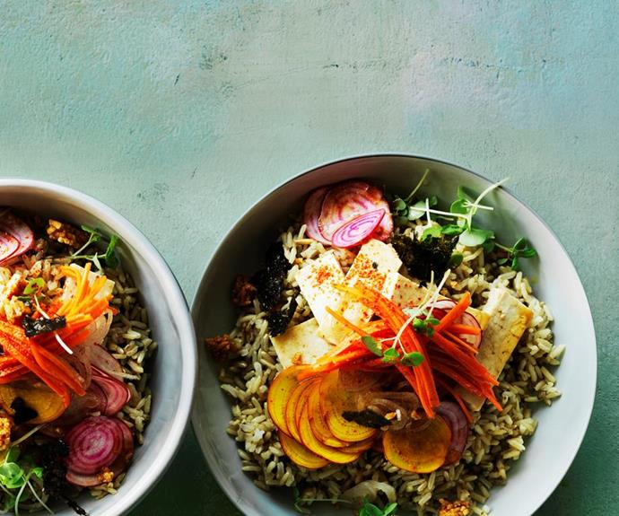 """[Tofu poke bowl with pickled carrot](https://www.gourmettraveller.com.au/recipes/browse-all/tofu-poke-bowl-with-pickled-carrot-12868