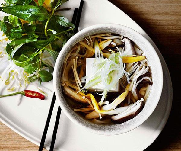 """[Tofu and mushroom pho with lily buds](https://www.gourmettraveller.com.au/recipes/chefs-recipes/dandelion-tofu-and-mushroom-pho-with-lily-buds-7676