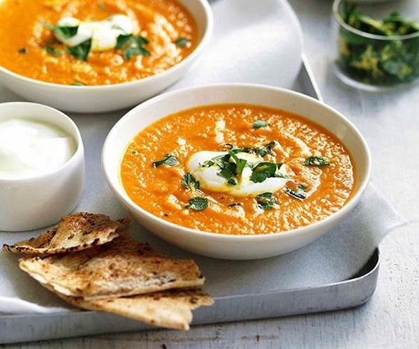 "[Roast carrot and cumin soup](https://www.gourmettraveller.com.au/recipes/fast-recipes/roast-carrot-and-cumin-soup-13168|target=""_blank"")"