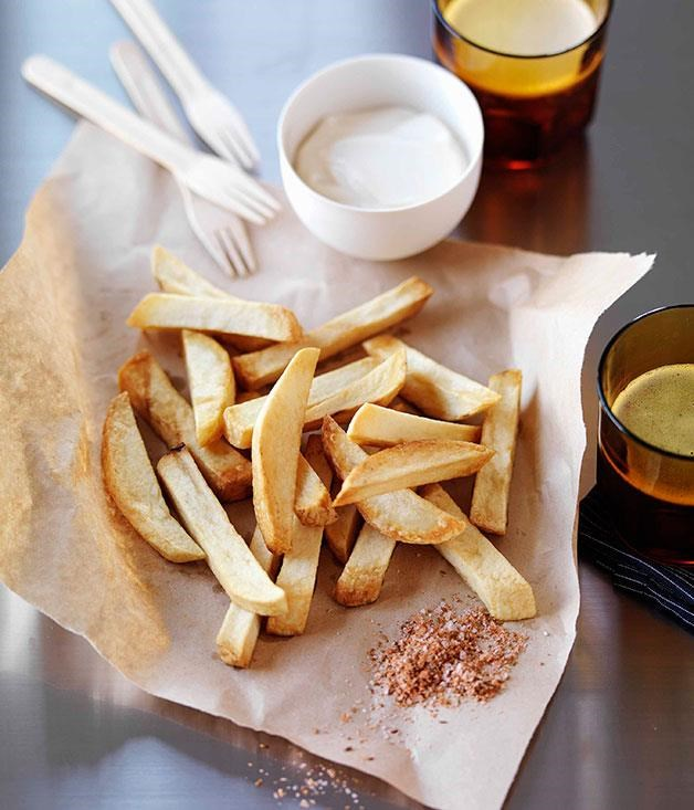 """[Chips with smoked cumin salt and aïoli](https://www.gourmettraveller.com.au/recipes/browse-all/chips-with-smoked-cumin-salt-and-aioli-14109