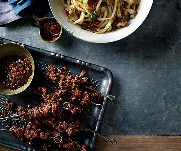 "[Lamb skewers with chilli and cumin (Shou zhua yang rou chuan)](https://www.gourmettraveller.com.au/recipes/chefs-recipes/lamb-skewers-with-chilli-and-cumin-shou-zhua-yang-rou-chuan-7859|target=""_blank"")"