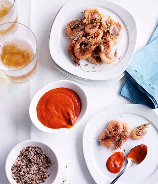"[Clarence River school prawns with cumin salt and harissa](https://www.gourmettraveller.com.au/recipes/chefs-recipes/clarence-river-school-prawns-with-cumin-salt-and-harissa-8850|target=""_blank"")"