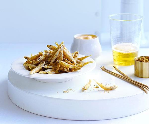 "[Fried whitebait with cumin salt and smoky mayonnaise](https://www.gourmettraveller.com.au/recipes/browse-all/fried-whitebait-with-cumin-salt-and-smoky-mayonnaise-10272|target=""_blank"")"